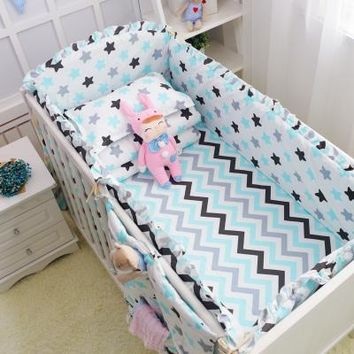 6pcs Stars Wavy Design Girls Or Boys Baby Bedding Set 100%Cotton