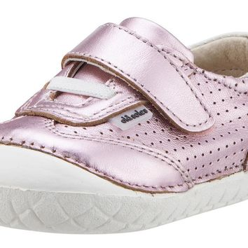 Old Soles Girl's 4011 Sporty Pave Frost Pink Leather Elastic Laces Hook and Loop Walker Baby Shoe Sneaker