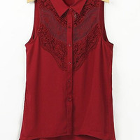 Red Sleeveless Lace Blouse