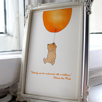 Nobody can be uncheered with a balloon' Winnie the Pooh Unisex nursery art printable A4 JPEG Download