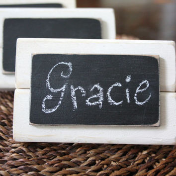 Set of 4 - Distressed Wood Mini Frame Chalkboard Place Cards - White