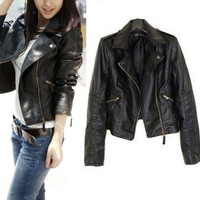 2015 Women Jaqueta Couro Rivets Faux PU Motercycle Leather Zipper Short Jackets Coats for Woman