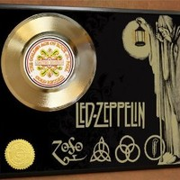 Led Zeppelin Limited Edition Poster Art Gold Record Music Memorabilia Display