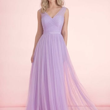 2017 Lilac Tulle Bridesmaid Dresses Cheap V Neck Sleeveless Long Maid Of Honor Gowns With Sash Custom Made For Wedding Party