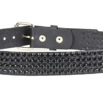 "4-Row Black Mini Pyramid Stud Leather Belt 1-1/4"" Wide"