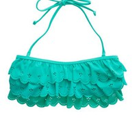 Aerie Women's Scallop Ruffle Bandeau Bikini Top (Mint Leaf)