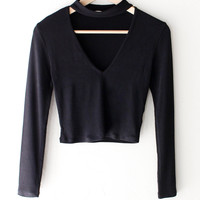Long Sleeve Choker V-neck Crop Top