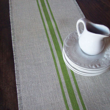 Burlap Table Runner 12 x 48 with Grain Sack Stripes by North Country Comforts - Choose Your Colors - Striped Runner