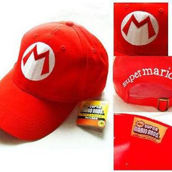 Drop Shipping Super Mario Bros Adjustable Adult Kids Costume Hat Anime Cosplay Red M Green L Mario baseball Cap Gift