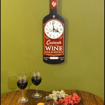 Personalized Wine Bar Bottle Shaped Clock