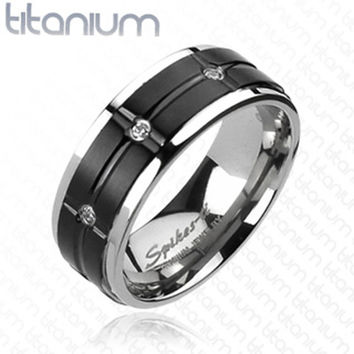 8mm Grooved Black IP Center Multi-CZs Ring Solid Titanium Men's Ring
