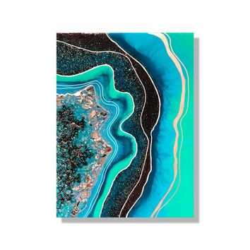 Geode Wall Art, 3d Resin Painting, Abstract Gemstone Artwork, Geode Resin Art, Teal Home Decor, Modern Wall Hanging, Contemporary Design Art