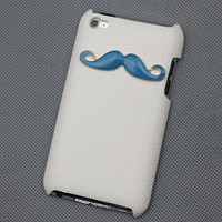 Blue moustache And White Hard Case Cover for Apple Ipod Touch 4, iPod Touch 4th,iTouch 4,iPod Touch 4gen Hard Case Cover