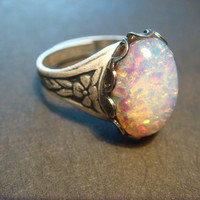 Victorian Style Fire Opal Antique Silver Ring- Adjustable (875)