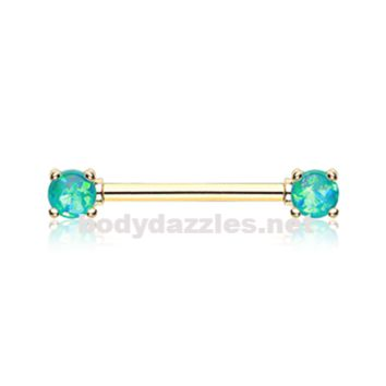 Pair of Golden Teal Opal Glitter Prong Steel Nipple Barbell Nipple Ring