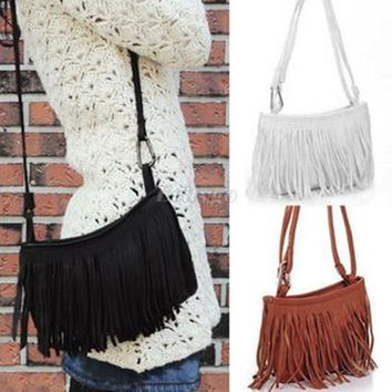 Fringe Faux Suede Crossbody  Handbag Purse