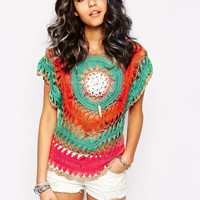 Sunshine Soul Festival Crochet Top With Circle Detail In Multi