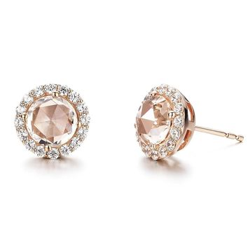 Lafonn Classic Sterling Silver Rose Gold Plated Morganite Earrings (3.04 CTTW)