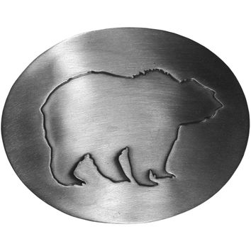 Sports Accessories - Grizzly Silhouette Antiqued Belt Buckle