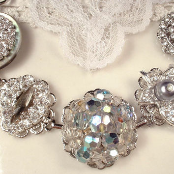 OOAK Silver Gray & Clear Crystal, Pearl and Rhinestone Vintage Cluster Earring Bracelet Bridal Bridesmaids Jewelry Gift Old Hollywood Gatsby