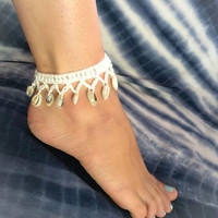Fashion hand crochet shell toe chain Beach necklace 9 color