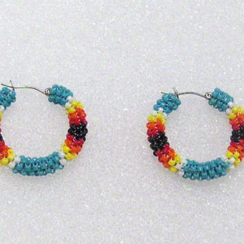 Turquoise Native American Inspired Peyote Beaded Hoop Ethnic Earrings, Tribal,Southwestern,Hoops