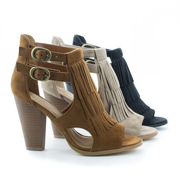Place Peep Toe Double Buckle Fringe Stacked Chunky Heels