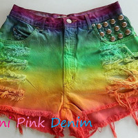 High Waist Rainbow Dyed Studded Shorts LARGE by MiniPinkDenim