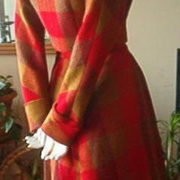 Red Plaid Wool Suit 50s