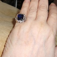 Faux Sapphire 925 Silver Plated Filigree Ring 7