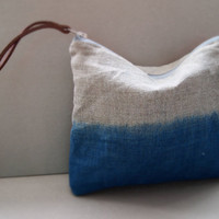 Ombre Pouch Indigo -  Blue Dip Dye Large Linen Purse Make up Bag with Leather Zip Pull