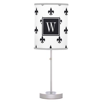 Simple Black & White Fleur De Lis Pattern Monogram Table Lamp
