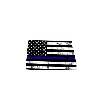 North Dakota Distressed Subdued US Flag Thin Blue Line/Thin Red Line/Thin Green Line Sticker. Support Police/Firefighters/Military