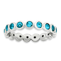 Sterling Silver Stackable Expressions  December Swarovski Ring