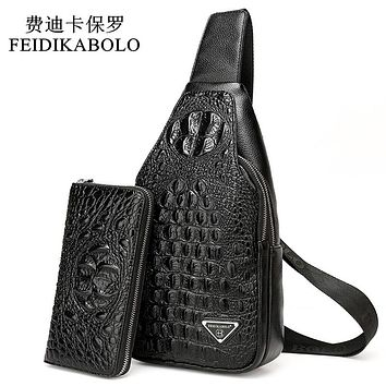 Crocodile Men Chest Pack Leather Travel Men's Cross Body Bags Male Shoulder Bag Back Bag Rucksack Men Clutch Purse