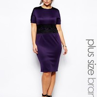 AX Paris Plus Size Lace Waist Scuba Midi Dress