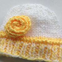 Spring Bonnet Handknitted Baby Girl Beanie Hat, Handknitted Baby Clothes, Baby Hat, 0-6 months Hat, Newborn, Reborn Doll Clothes, Knit
