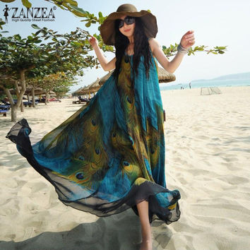 2017 Summer Boho Chiffon Peacock Floral Embroidery Sleeveless Printed Beach Tunic Long Maxi Dress Sundress Vestidos Plus Size