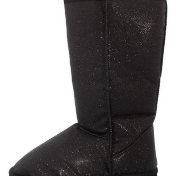 RBOOTS001 BLACK GLITTER FASHION BOOTS