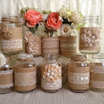 4a8e20718813 3 DAY SALE 10x rustic burlap and lace covered mason jar vases we