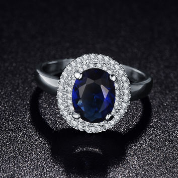 Latest Fashion Trendy Rings Platinum Plated Micro Pave Clear AAA Cubic Zirconia Blue Round Jewelry For Women Bijoux CRI0126-B