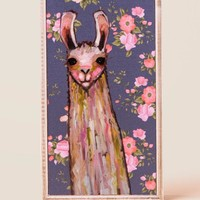 Llama Floral Canvas Wall Decor