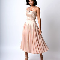 Iconic by UV Champagne Satin & Chiffon Dovima Ballerina Swing Dress