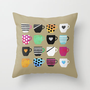 Coffee cup collection / 1 Throw Pillow by Elisabeth Fredriksson