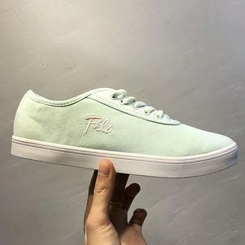 FILA New Popular Women Comfortable Embroidery Canvas Flat Sport Shoe Sneakers Mint Green I-AHXF