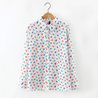 Bird Print Button Turn-down Collar Single-Breasted Long Sleeve Blouse