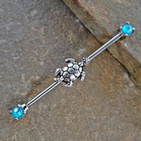 Turtle Industrial Teal Fire Opal Barbell Scaffold Piercing 14ga Body Jewelry 316L Surgical Stainless Steel