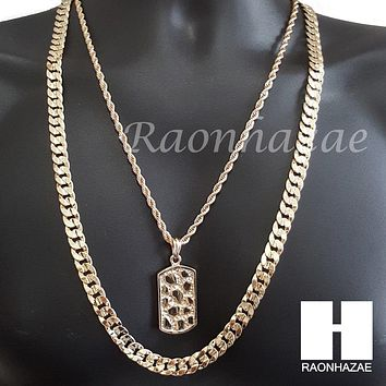 "ICED OUT NUGGET DOG TAG ROPE CHAIN DIAMOND CUT 30"" CUBAN LINK CHAIN NECKLACE S59"