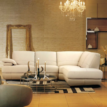 Contemporary Italian Beige Leather Sectional Sofa