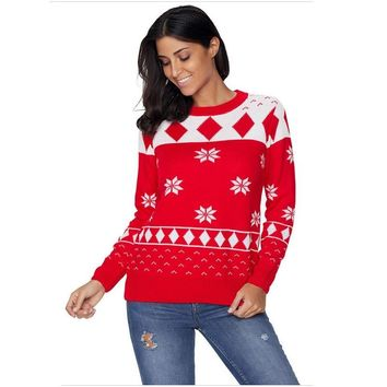 Gladiolus Ladies Stylish Ugly Christmas Sweater Cute Printed Plus Size Knitted Gym Tight Jumper Warm Winter Patchwork Sweaters